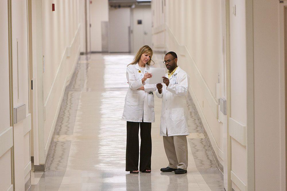 Caregivers in hallway